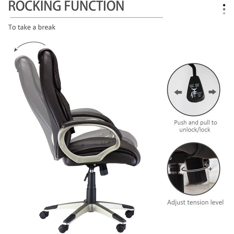 Outstanding Homcom Computer Office Swivel Chair Desk Chair High Back Pu Leather Adjustable Brown Gmtry Best Dining Table And Chair Ideas Images Gmtryco