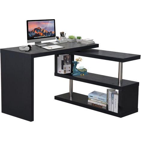 HOMCOM Computer PC Desk Storage Display Shelf Shelving Wooden Bookcase Bookshelf Divider (Black)