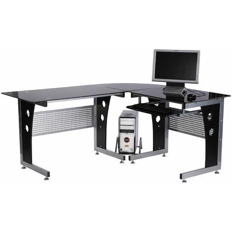 HOMCOM® Computer- und Eckschreibtisch Bürotisch Schreibtisch über Eck L-Form Glas Eisen MDF Schwarz Silber164 x 139 x 75 cm