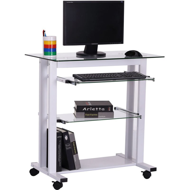 brand new 9018a 04844 HOMCOM Computer Workstation Laptop PC Desk Glass Writing Table Stand w/  Wheels White