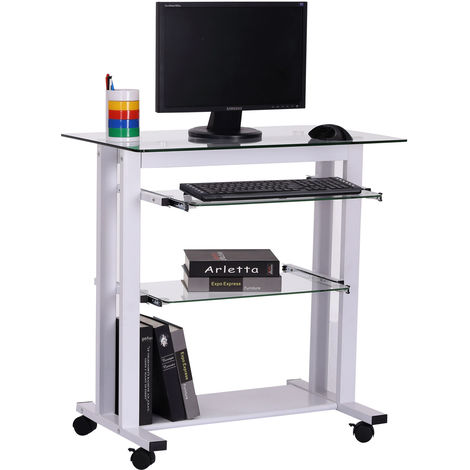HOMCOM Computer Workstation Laptop PC Desk Glass Writing Table Stand w/ Wheels White