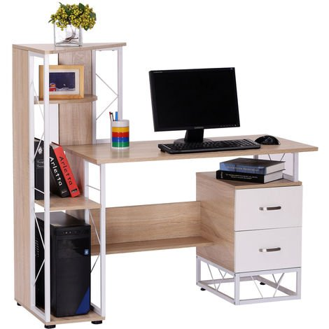Homcom Computer Writing Desk PC Workstation w/2 Drawers Multi-Shelves Home Office