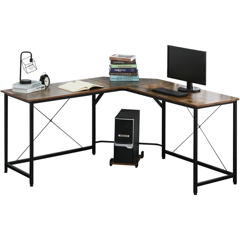 ® Computertisch L-förmiger Eckschreibtisch Schreibtisch Bürotisch E1 Spanplatte - braun - Homcom