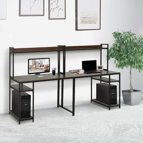 HOMCOM® Computertisch mit Regal Schreibtisch Arbeitstisch Laptoptisch Schwarz 240x60x135