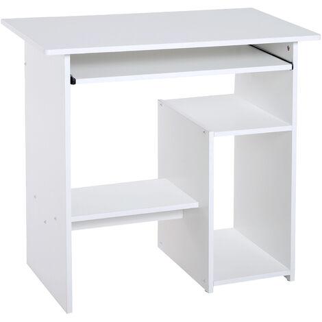 HOMCOM® Computertisch Schreibtisch Bürotisch Gamingtisch PC-Tisch Weiß - weiß