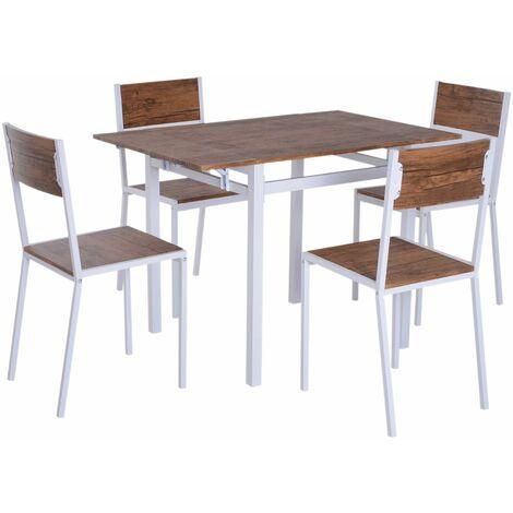 HOMCOM Conjunto de Mesa Extensible y 4 Sillas de Comedor Sala Juego Muebles de Cocina
