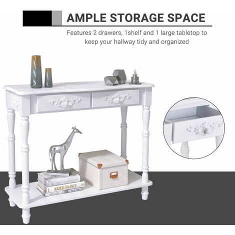 Homcom Console Table 2 Drawer Hallway Desk Wooden Storage Shelf Living Room Furniture White