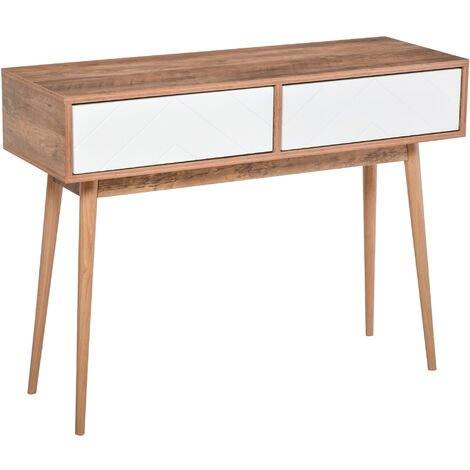 HOMCOM Console Table Sofa Side Desk w/ 2 Drawers for Living Room Entryway