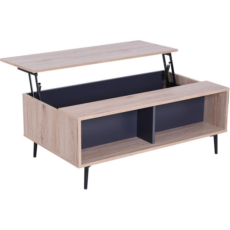 'HOMCOM® Couchtisch Beistelltisch wohnzimmertisch Tischplatte höhenverstellbar großer Stauraum mit Regal Staufach Holz Natur Schwarz 100 x 58 x
