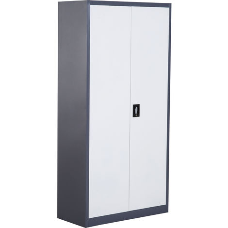 HOMCOM CRS Lockable Filing Cabinet Home Office Adjustable Shelf 5 Compartment White,Black