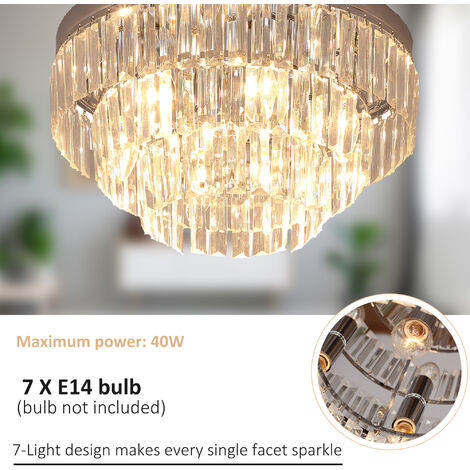 Homcom Crystal Light Ceiling Lamp Living Room Chandelier Mount Fixture Hallway Flush