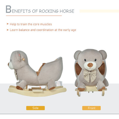 HOMCOM Cute Kids Riding Bear Seat Ride On w/ Wood Base Sounds Padded Fun