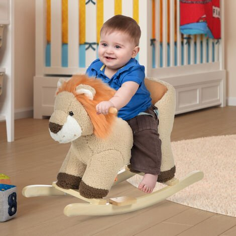 HOMCOM Cute Kids Riding Lion Seat Ride On w/ Wood Base Sounds Padded Fun