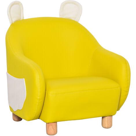 HOMCOM Cute PU Leather Animal Design Kids Armchair w/ Side Storage 3-6 Yrs Yellow