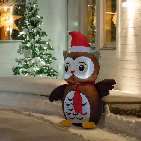 Decorazioni Natalizie Gonfiabili.Homcom Decorazione Natale Gufo Gonfiabile Gigante Luminoso Marrone