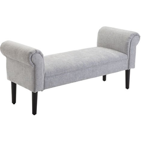 HOMCOM Deluxe Linen Bed End Arm Bench Bedside Bench Footstool Home Decor