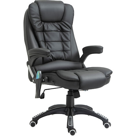 HOMCOM Deluxe Reclining Faux Leather Office Computer Chair 6-Point Massage High Back Desk Work Swivel Chair Black