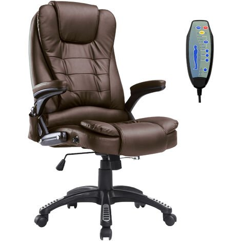 HOMCOM Deluxe Reclining Faux Leather Office Computer Chair 6-Point Massage High Back Desk Work Swivel Chair Brown
