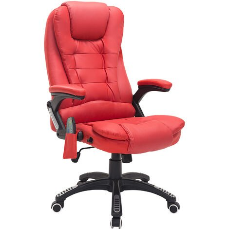 HOMCOM Deluxe Reclining Faux Leather Office Computer Chair 6-Point Massage High Back Desk Work Swivel Chair Red