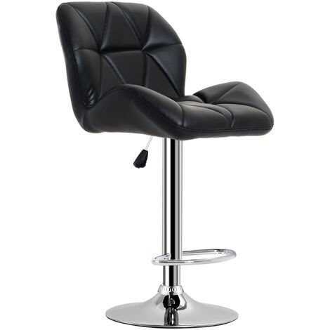 HOMCOM Diamond Design Swivel Bar Stool Kitchen / Pub Metal Chrome Base - Black