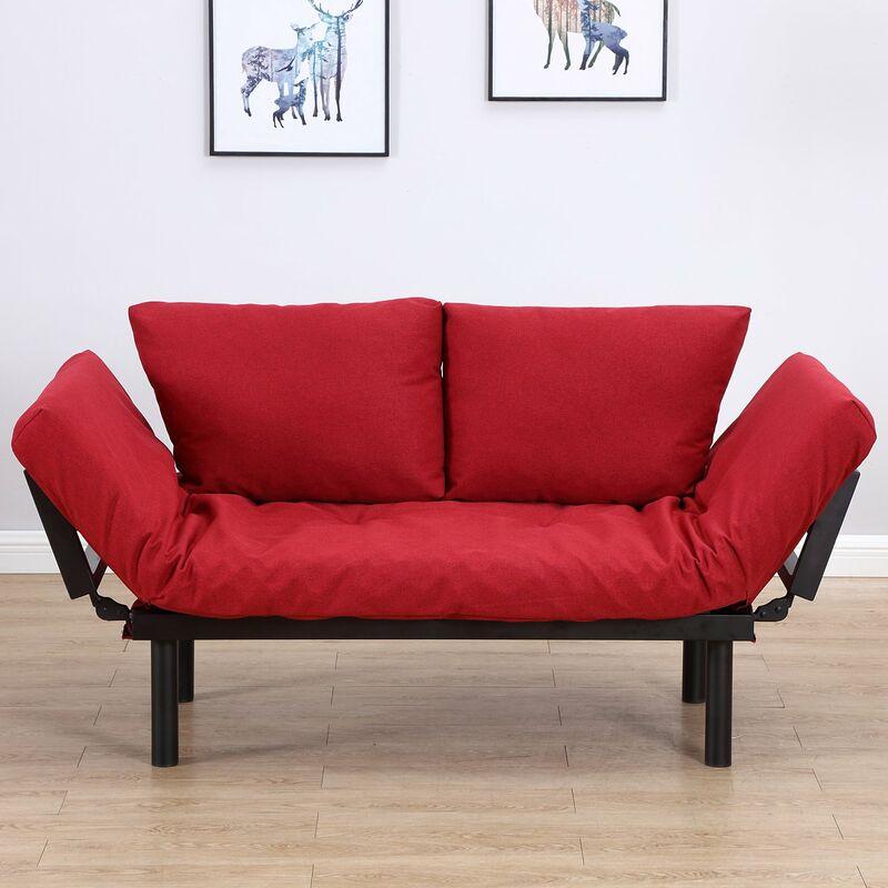 Divano Letto Rosso.Homcom Divano Letto 2 Posti In Tessuto Di Lino Rosso 166x70x80cm