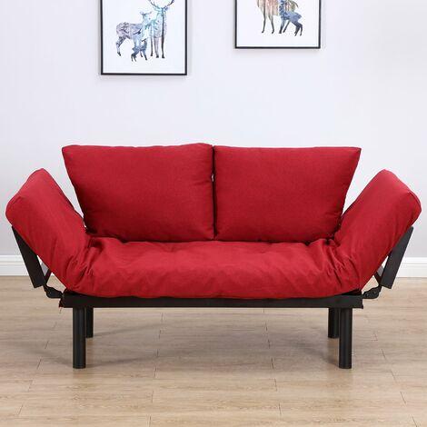Divano Letto In Ecopelle Rosso.Homcom Divano Letto 2 Posti In Tessuto Di Lino Rosso 166x70x80cm