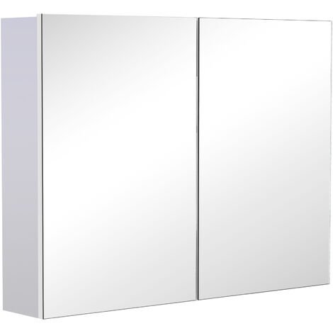 Homcom Double Door Wall Mounted Glass Mirror Cabinet Shelf Organiser Waterproof 80Lx60Hx15D(cm)