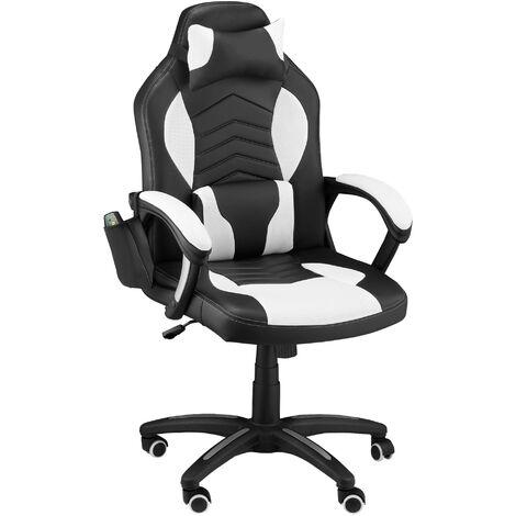 HOMCOM® Drehstuhl Gaming Massage- und Wärmefunktion Schwarz, Weiß