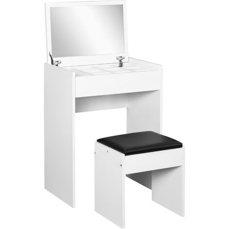 HOMCOM Dressing Table Set Padded Stool Dresser with Flip-up Mirror Multi-purpose - White