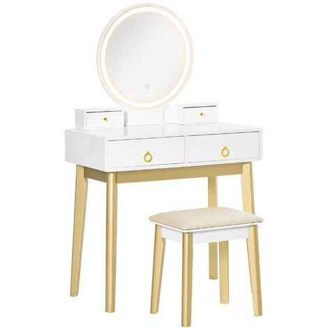 "main image of ""HOMCOM Dressing Table Set w/ LED Light Mirror 4 Drawer Cabinet Stool Makeup Desk White"""