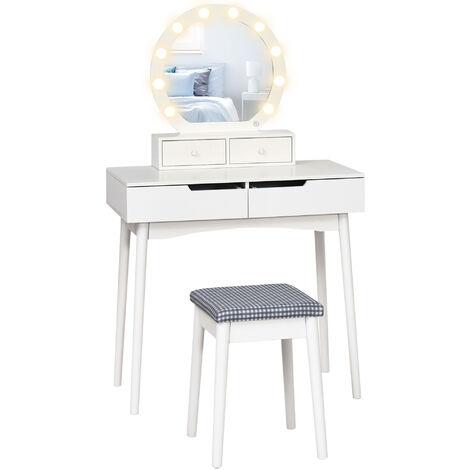 HOMCOM Dressing Table Set With Mirror & Stool 10 LED Bulbs Makeup Dresser Desk