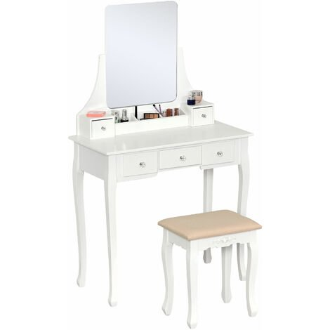HOMCOM Dressing Table Set With Mirror & Stool 5 Drawers Makeup Dresser Desk