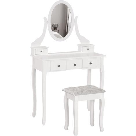 Homcom Dressing Table Vanity Set Vintage Desk Stool Mirror Makeup Furniture