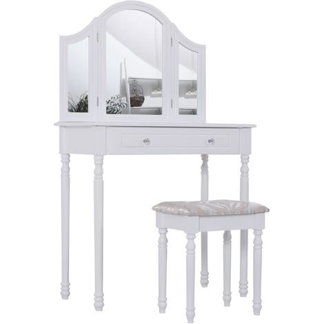HOMCOM Dressing Table Wooden Vanity Set Furniture Make Up Desk Cosmetics - White