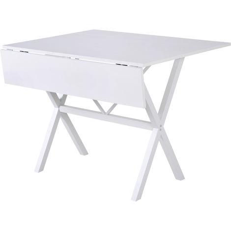 HOMCOM Drop Leaf Dining Table Extending Storage Design w/ Metal Frame White