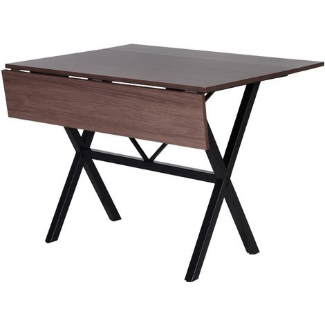 HOMCOM Drop Leaf Extending Dining Table Metal Frame MDF Top 6 Person Brown