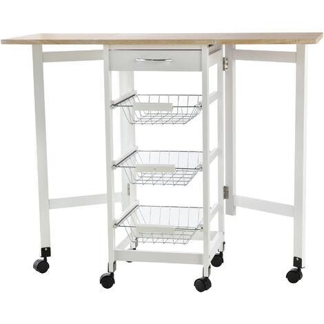 HOMCOM Drop-Leaf Kitchen Trolley w/ 3 Baskets Drawer Surface Top 6 Wheels White