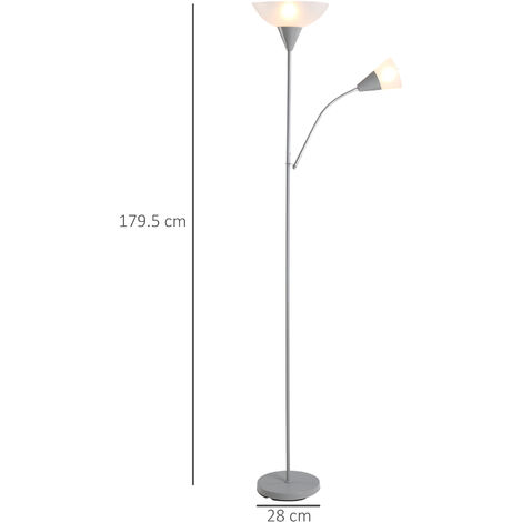 HOMCOM Duo Light Floor Lamp Elegant Home Lighting Steel Frame 2.8m Cable