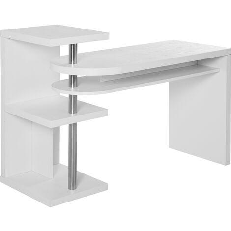 HOMCOM® Eckschreibtisch Computertisch PC-Schreibtisch mit Regal Bürotisch L/I-Form Weiß - weiß
