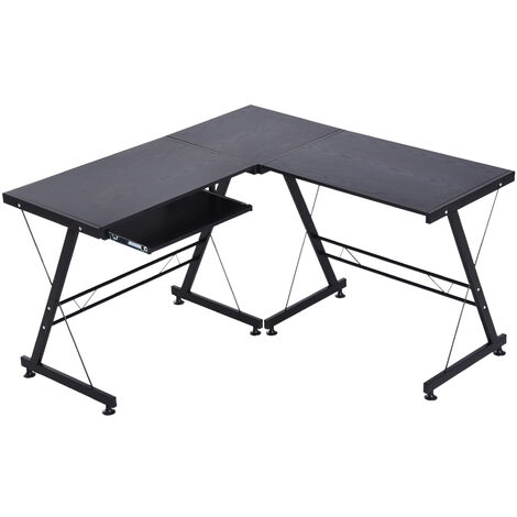 HOMCOM® Eckschreibtisch flexibel höhenverstellbar MDF Stahl 130 x 130 x 73 cm Schwarz