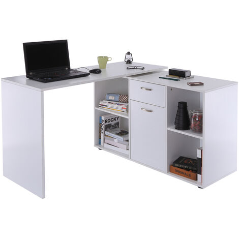 HOMCOM® Eckschreibtisch MDF 120 x 50 x 76 cm Weiß - weiß