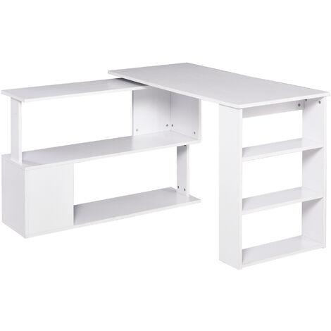 HOMCOM® Eckschreibtisch mit Regal Weiß L-Form L120 x B110 x H74,5 cm - weiß