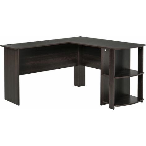 HOMCOM® Eckschreibtisch Winkel Schreibtisch Computertisch Staufach Büro Dunkelbraun