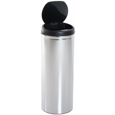 HOMCOM® Edelstahl Mülleimer 50L Automatik Sensor IR mit Inneneimer rund - silber