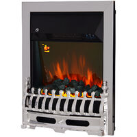 Homcom Electric Fireplace Coal Burning Flame Effect Heater Glass View LED Lighting w/ Remote