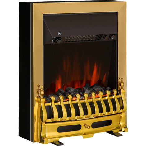 Homcom Electric Fireplace LED Light Complete Fire Place Heating Indoor Heater Coal Burning Flame Effect Heat 2000W