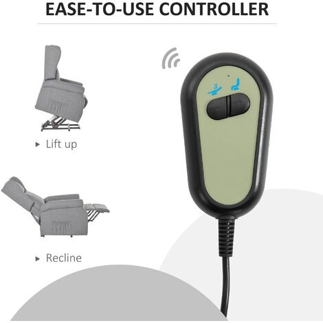 HOMCOM Electric Lift Chair Recliner Assistance w/ Remote Control Grey