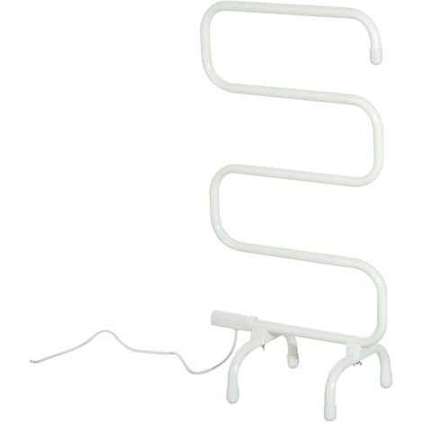 Homcom Electric Towel Rail Heater Floor Standing Bathroom Electric Rack - Cream White