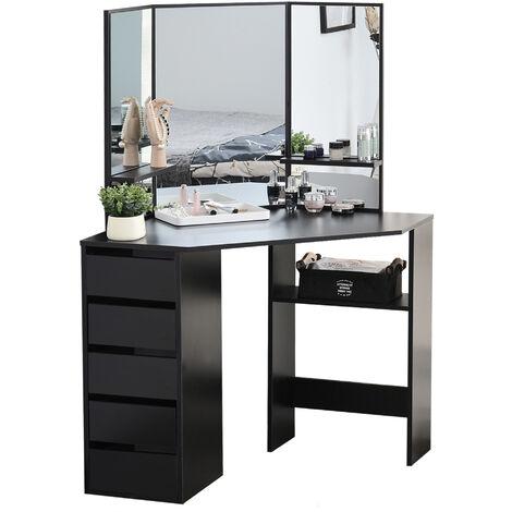 HOMCOM Elegant Dressing Table w/ Tri-Mirror 5 Drawers 2 Shelves Vanity Black