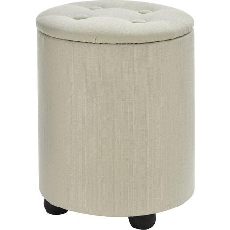 HOMCOM Elegant Linen Storage Ottoman Stool w/ Tufting Padded Top Home Seat Cream